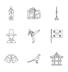 Stay in south korea icons set outline style vector