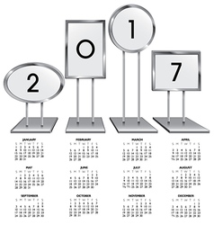 2017 calendar with chrome sign holders vector image