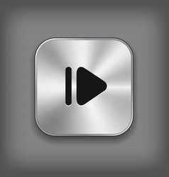 Media player icon - metal app button vector