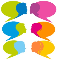 Speech bubbles with faces vector