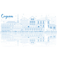Outline cayenne skyline with blue buildings and vector
