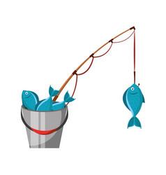 fishing bucket with rod vector image
