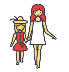 happy mother with smiling daughter on vacation vector image