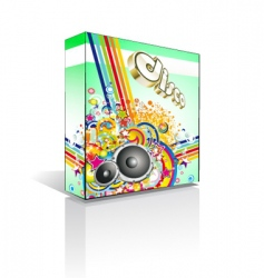Disco music box or package vector