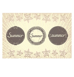 Three grunge labels designed for summer vector
