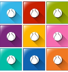 Square buttons with balls vector