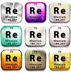 A periodic table showing rhenium vector