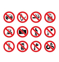 Prohibition signs icon vector
