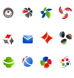 12 colorful symbols set 12 vector