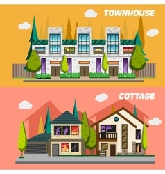 Street with townhouses and country houses set of vector