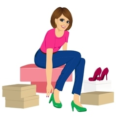 Woman trying many fashionable shoes vector