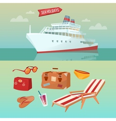 Sea holidays concept with cruise ship vector
