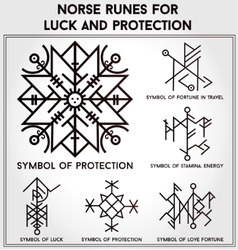 Futhark runes magic symbols set vector image