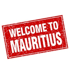 Mauritius red square grunge welcome to stamp vector