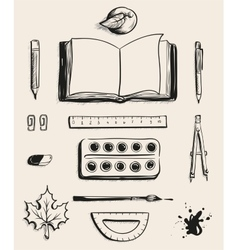 Set school office supplies top view open book vector