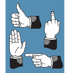 Set of hand gestures based on printers pointer vector image