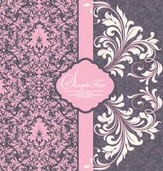 Elegant damask invitation card vector