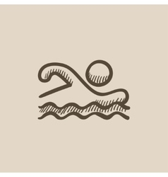 Swimmer sketch icon vector