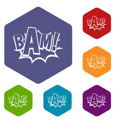 Bam comic book bubble icons set hexagon vector