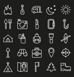 Camping icons set on black background vector