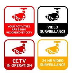 cctv pictogram video surveillance set symbol secur vector image vector image