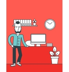 Cheerful office clerk vector
