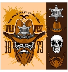 Cowboy skull in the hat and sheriffs star vector