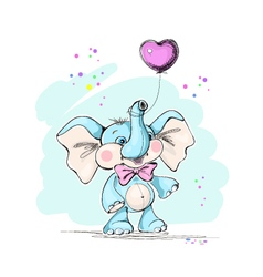 Cute and funny baby elephant and balloon vector image vector image