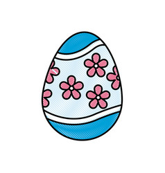 Drawing colored easter egg celebration spring vector