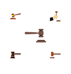 Flat icon hammer set of hammer legal law and vector
