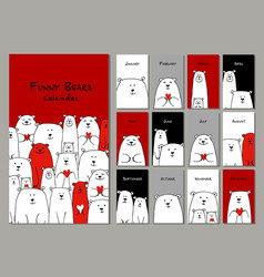 Funny white bears family design calendar 2018 vector