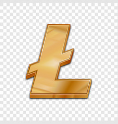 golden litecoin trendy 3d style icon vector image