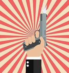 Hand firing a gun for starting race on sunburst vector image vector image