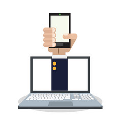 Internet things hand holds smartphone computer vector