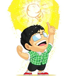 Kid having a shining light bulb idea vector