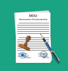 mou memorandum document vector image