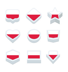 Poland flags icons and button set nine styles vector