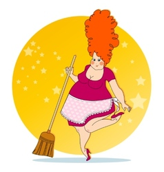 Positive housewife vector image