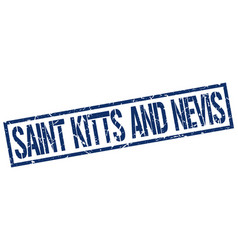 Saint kitts and nevis blue square stamp vector