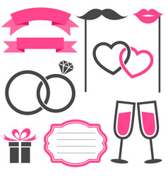 Set of wedding elements isolated on white vector