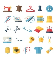 Sewing equipment and needlework flat icons vector