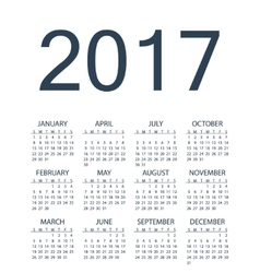 Simple calendar for 2017 year vector