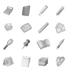 Stationery icons set monochrome vector