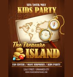 Treasure Island party flyer template vector image vector image