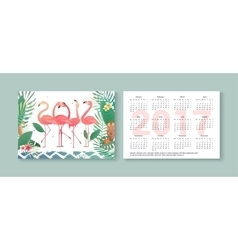 Tropical pocket calendar 2017 with flamingos vector