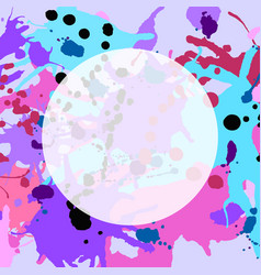 Turquoise purple pink ink splashes round frame vector
