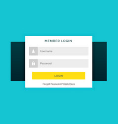 White member login form on blue background in vector