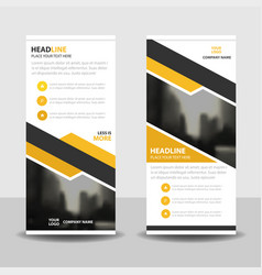 Yellow label business roll up banner flat design vector
