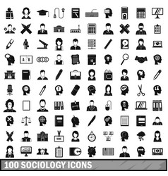 100 sociology icons set simple style vector