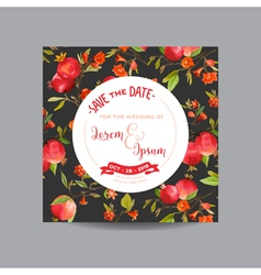 Pomegranates Flowers and Leaves Wedding Card vector image